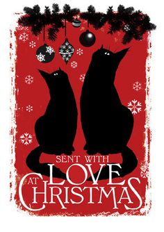Lovely christmas card with two beautiful black cats. Perfect for the cat lover in your life. Hand finished with glittery love. card, printed in UK on card produced in UK. Blank inside, comes with white envelope in a clear cellobag. I Love Cats, Crazy Cats, Cool Cats, Cat Christmas Cards, Vintage Christmas Cards, Funny Christmas, Holiday Cards, Black Cat Art, Black Cats