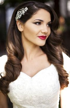Bride's side part long curled down bridal hair ideas Toni Kami Wedding Hairstyles ♥ ❷ Stunning old Hollywood perfection! Gorgeous wedding photography idea red lipstick