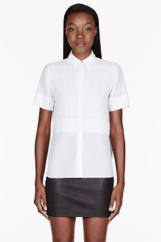 T By Alexander Wang White Silk Chiffon And Crepe Short Sleeve Blouse
