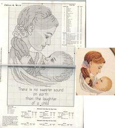 0 point de croix mère et bébé riant - cross stitch  mother and laughing child