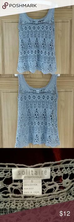 Grey crochet tank, beautiful, preowned So beautiful, my daughter wore one time....... 100% cotton. solitaire Tops Tank Tops