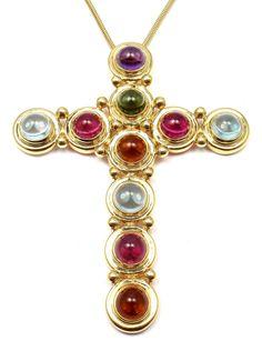 Tiffany & Co. Paloma Picasso Aquamarine Citrine Tourmaline Gold Cross Necklace image 5