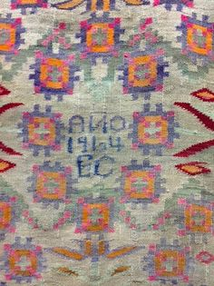 """Collectors piece. Vintage blanket, Ancash, central Andes, alpaca. The initials are most likely the weaver's as they often weave for they're own significant life events.  ITEM: MSB-001 ~78"""" square. $1290.00  Dealer DOES NOT SHIP. Invoice must be paid no later than June 1; email kay@kaymcgowan.com  for PayPal invoice."""