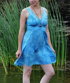 Look what I found on #zulily! Capri Blue Casablanca Sleeveless Dress by Island Tribe Apparel #zulilyfinds