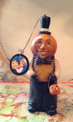 FOLK ART One of a Kind Jack o lantern Pumpkin Ornament Ornie Vintage Style Art…