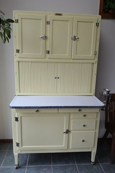 "(I have this exact cabinet, but I had mine stripped because it had at one time been home to many roosting hens. YUCK!!!) ""Hoosier style""  Inspiration I have always wanted one of these!"