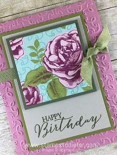 Color Your World International Blog Hop Birthday Card using Petal Garden Designer Series Paper  Butterfly Basics & Garden Trellis Embossing Folder by Stampin' Up! www.stampstodiefor.comc2