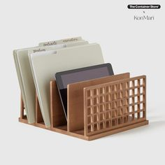 Keep your files, folders, manuals, notebooks and mail neatly sorted and effortlessly accessible with this handy desktop collator. It's also great for organizing tech devices. Part of our exclusive collection of sustainable products designed by Marie Kondo, this file organizer is handmade from bamboo, an easily renewable resource, and was inspired by the traditional Japanese shoji screens. Small Space Organization, Office Organization, Organizing, Shoji Screen, File Organiser, Sustainable Design, Sustainable Products, Marie Kondo, Container Store