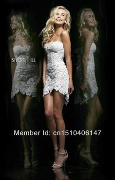Free Shipping 2014 White Sweetheart See through Sheath Lace Short Cocktail Dresses Party For Girls N006