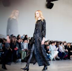 Great lengths. A Black + silver linked haircalf dress from the Fall 2015 Calvin Klein Collection.