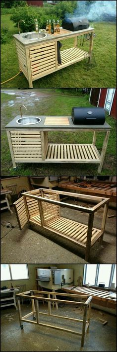How To Build A Portable Kitchen For Your Backyard theownerbuilderne. Outdoor kitchens have so many benefits and advantages but cost, usually, isn? need an expensive and full size outdoor kitchen. It just has to be functional an Backyard Projects, Outdoor Projects, Home Projects, Pallet Projects, Pallet Ideas, Woodworking Projects, Woodworking Clamps, Custom Woodworking, Teds Woodworking
