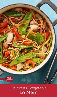 We went heavy on the fresh vegetables and easier on the pasta in this lightened-up take on chicken lo mein. It's seasoned with sesame dressing, soy sauce, fresh gingerroot and a touch of crushed red pepper, making it an exciting dish the whole family will love.