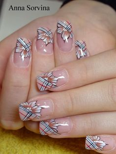Find images and videos about nails, nail art and Burberry on We Heart It - the app to get lost in what you love. Fancy Nails, Pink Nails, Cute Nails, Pretty Nails, Fabulous Nails, Gorgeous Nails, Acrylic Nails, Gel Nails, Plaid Nails