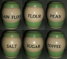 Collection of 1930s T G Green Streamline pottery kitchen storage jars for sale on eBay for Charity