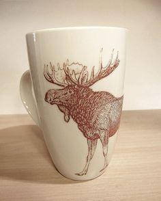 Alce tazza di caffè o tè tazza Woodland tema Antlers Coffee Mug 12 oz animale in ceramica tazza Hot Chocolate Moose