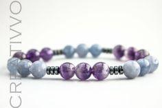 8mm Amethyst & Aquamarine - Gemstone Bracelet, Aquamarine Bracelet, Womens Bracelet, Handmade Bracelet, Beaded Bracelet by Creativvo on Etsy