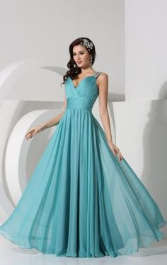 Pretty Chiffon Blue Bridesmaid Dress BNNBC0041-Bridesmaid UK