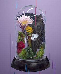 Set behind abstract drips and multi-colored streaks are the realistic works of Frank Gonzales, bright acrylic paintings that capture birds in moments of rest on top of tree branches, flowers, or prickly cacti.
