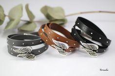 Vernada® Design -kieputettava nahkarannekoru, SIIPIEN SUOJASSA, NIITTI, eri värejä