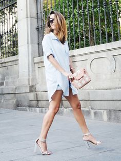 Dare to stand out? Wear an oversized blouse over cuffed jean shorts for a look that is undoubtedly sexy. // #Fashion