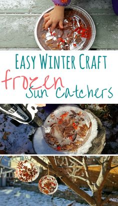 Make these stunning frozen sun catchers or ice ornaments to hand in your trees this winter | #kidscraft #wintercraft #winter #getoutside #easycraft
