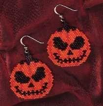 JackoLantern Earrings Pattern by Linda Hampton aka Beadintrigue at Bead-Patterns.com