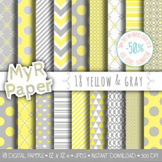 """Digital paper: """"18 YELLOW & GRAY"""" paper pack and backgrounds for mother's day, valentine's day, wedding, love in yellow and grey  50% OFF ON ORDERS OVER 12 $ (OR NEARLY 12 ... #patterns #design #graphic #digitalpaper #scrapbooking"""