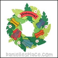 Palm Sunday Crafts and Activities - Palm Sunday Hossanna Wreath Craft from www.daniellesplace.com