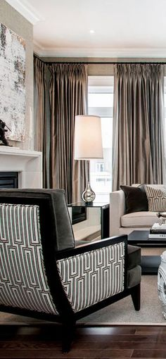Silvery gray and black decor with modern and graphic geometric fabrics. <3