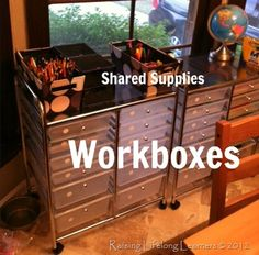 Workboxes Workbox System, Busy Boxes, Desk Accessories, Teaching Tools, Homeschooling, Classroom Ideas, Rooms, Organization, Education