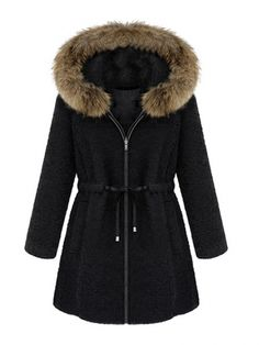 Warm Fur Collar Long Sleeve Oversized Wool Coat