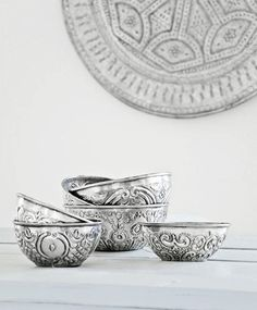 Moroccan style, love these bowls Moroccan Art, Moroccan Interiors, Moroccan Design, Moroccan Style, Modern Moroccan, Silver Blonde, Deco Design, Home And Deco, Home Accessories