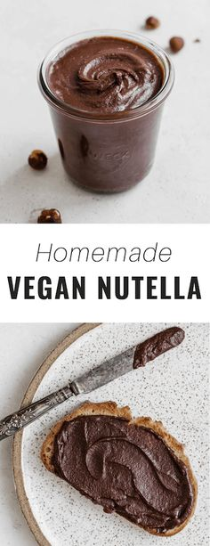 Enjoy this easy, homemade Nutella for breakfast or a snack. It's vegan, dairy-free and has no refined sugar added! Enjoy this easy, homemade Nutella for breakfast or a snack. It's vegan, dairy-free and has no refined sugar added! Healthy Vegan Breakfast, Healthy Vegan Snacks, Vegan Treats, Vegan Desserts, Nutella Breakfast, Vegan Breakfast Casserole, Chia Breakfast, Dairy Free Snacks, Plant Based Breakfast