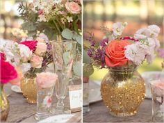 gold wedding ideas | diy gold vase | sparkly diy | rustic chic wedding | #weddingchicks