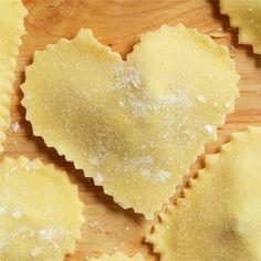 Italian love, Valentine's dinner, cucina, ravioli, heart