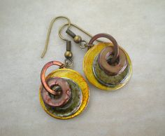 Washer Earrings: Spring Colors - Hardware Earrings - Washer Jewelry - Upcycled Jewelry - Unique Jewelry - Urban Chic