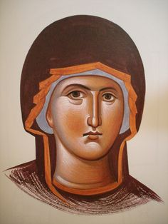 Face of Theotokos.  Style of Panselinos. Version 2. Stage 6.