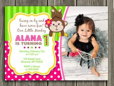 Monkey Birthday Invitation 3 - FREE thank you card