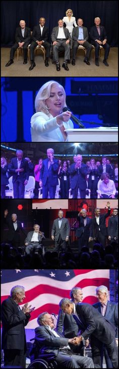 All five living former #USA #Presidents took part in a #benefitconcert #Saturday #October21st 2017 in #Texas to #raisemoney for #hurricanerelief efforts. Former Presidents #BarackObama #GeorgeWBush #BillClinton #GeorgeHWBush and #JimmyCarter attend the #event at #ReedArena at #Texas A&M University #LiveStream #LadyGaga received a standing ovation from 5 Presidents of the #USA at One America Appeal!