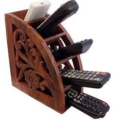 Charmant Dungri India ® Wooden Multi Remote Control Holder/stand/organizer/rack For  Space Saving 4 Slot TV Remote Control Storage Organizer Caddy