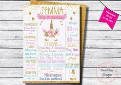 Birthday Chalkboards and Party Invitations by DandelionDesignsZA Unicorn Party, Unicorn Birthday, Poster Display, Chalkboard Poster, Unicorn Face, Little Girl Birthday, Birthday Chalkboard, Birthday Invitations, First Birthdays