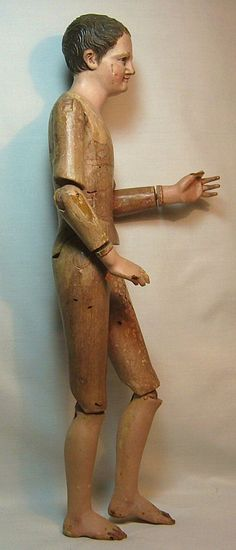 Early Antique Beautifully Articulated Wooden Man Doll Figure