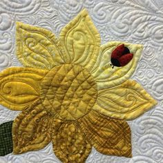 """Detail of """"Sunflower Fields"""" by Katherine Gonzalez, quilted by Linda Spence. See my previous post for more info. #mqx"""