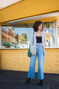 Super High Denim - jeans from Topshop paired with polka dot blazer from H&M, round green suede purse from The Wolf Gang. Casual OOTD. #grasiemercedes #curls #naturalhair #denim