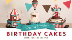 Create three fun cake designs with the waxed-paper transfer method and Jessica's no-carve sculpting techniques. - via @Craftsy