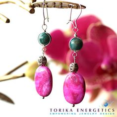 Hot Pink Earrings Pink Orchid and Blue Crazy by TorikaEnergetics