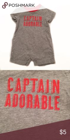 Carters Grey and red graphic romper Carter's Shirts & Tops