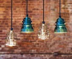 clever, old insulators repurposed for new lighting.