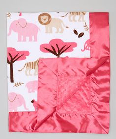 Take a look at this White & Raspberry Jungle Tales Stroller Blanket on zulily today!