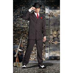 Gangster heren kostuum deluxe. Dit maffia gangster kostuum komt inclusief hoed, voorzet stukje met stropdas en pin en is exclusief shirt en schoenen. Carnavalskleding 2015 #carnaval